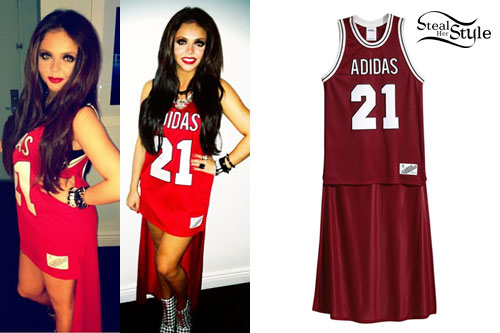 Jesy Nelson: Athletic Jersey Hi-Low Dress | Steal Her Style