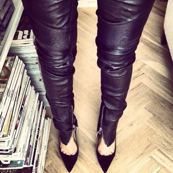 black black pants wet look leggings wet look leather pants zip zipped pants