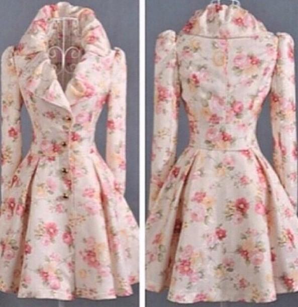 coat coat dress white floral collar