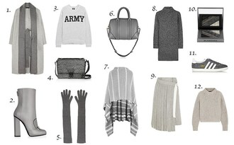 fashion vibe blogger bag gloves grey winter outfits grey sweater