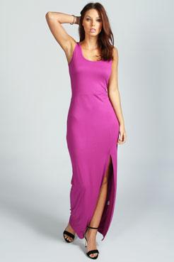 Cameron Scoop Neck Front Split Maxi Dress at boohoo.com