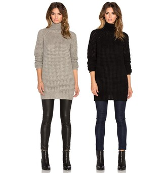 sweater autom blanknyc winter outfits winter sweater grey sweater grey black black sweater chunky sweater thick sweater fall winter outfits fall outfits fall sweater fall colors outfit idea outfit revolve clothing revolve revolveme turtleneck pull gris noir elegant chic hiver automne
