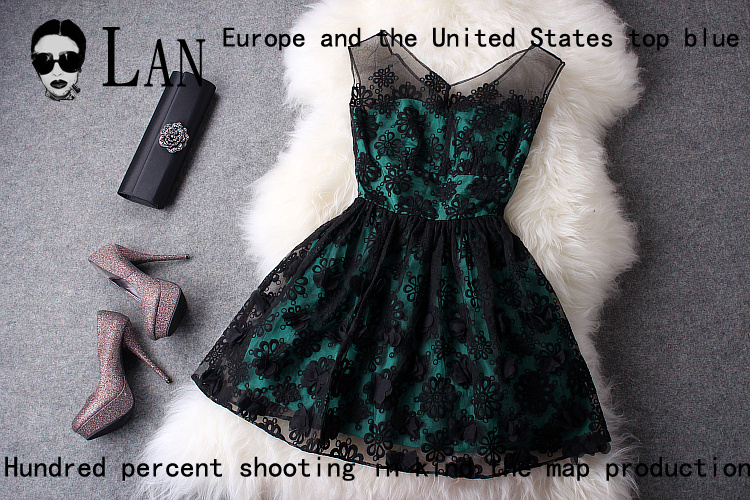 2013 spring summer designer women's dresses organza embroidery 3d flowers princess dress one piece dress vintage dress for women-inDresses from Apparel & Accessories on Aliexpress.com