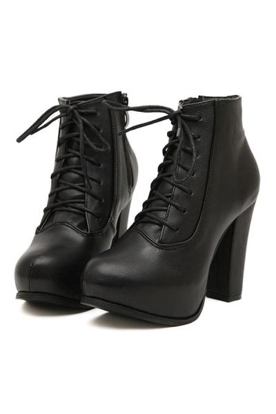 Street-chic Lace-up Platform Boots - OASAP.com