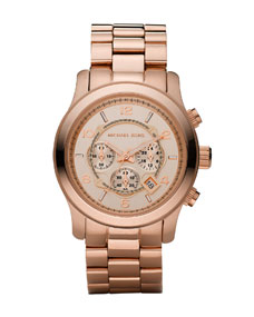 Michael Kors  Rose Golden Runway Oversized Chronograph Watch - Michael Kors