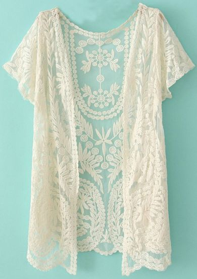 2014 Lady's New Spring/Fall Hot Selling Fashion Women's Clothing Brand See Through White Short Sleeve Crochet Net Lace Cardigan-in Cardigans from Apparel & Accessories on Aliexpress.com