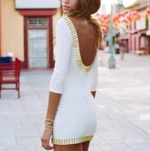 dress white dress gold pretty open back open back dresses