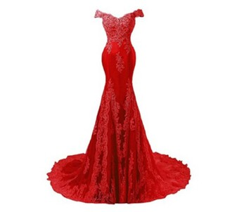 dress red mermaid tail prom dress lace off the shoulder