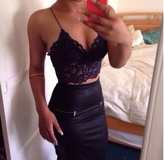 tank top black lace top scarf blouse shirt lace crop tops black sexy lace bralette navy skirt leather skirt lace top black bralette black leather skirt black skirt black bustier bralette bustier pencil skirt bodycon belly piercing high waisted skirt leather zip