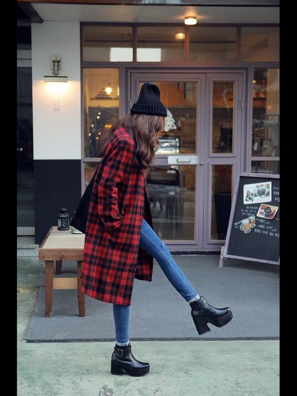 jacket plaid jacket black beanie black shoes jeans