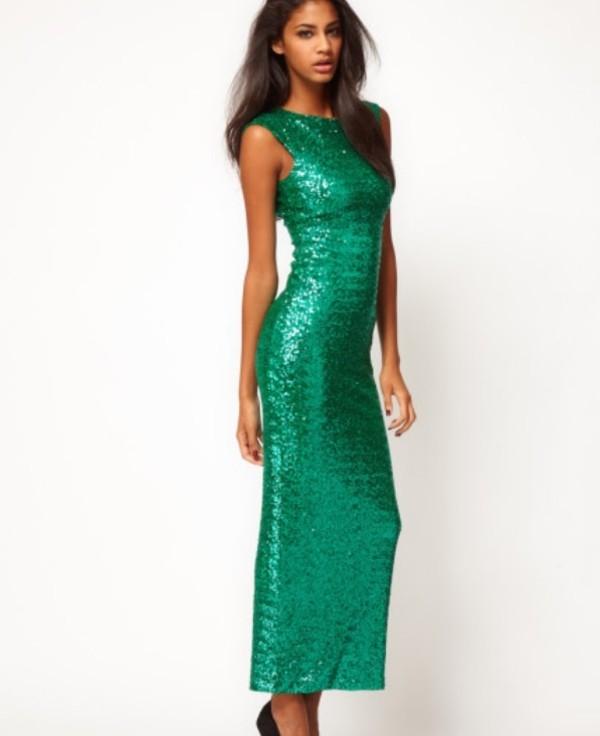 dress green dress sequin dress maxi dress