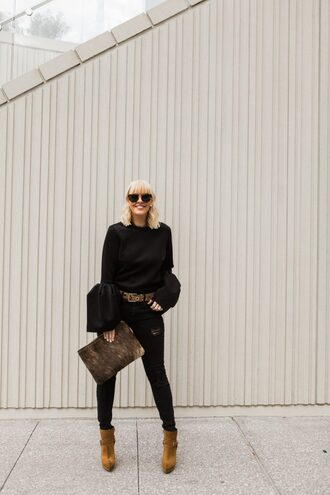 the courtney kerr blogger top jeans bag shoes sunglasses belt jewels bell sleeves ankle boots clutch