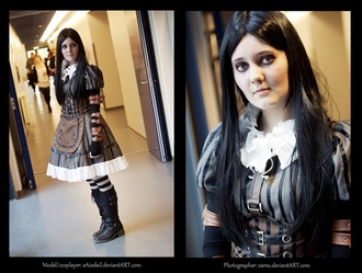 cosplay alice madness returns alice cosplay dress boots stripes