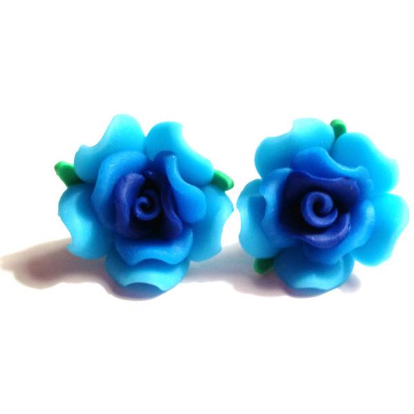 Blue Rose Earrings - Cobalt, Sky, Light, Green, Ombre Polyme... - Polyvore
