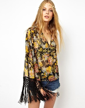 ASOS | ASOS Blouse With Fringe Kimono Sleeve In Floral Print at ASOS