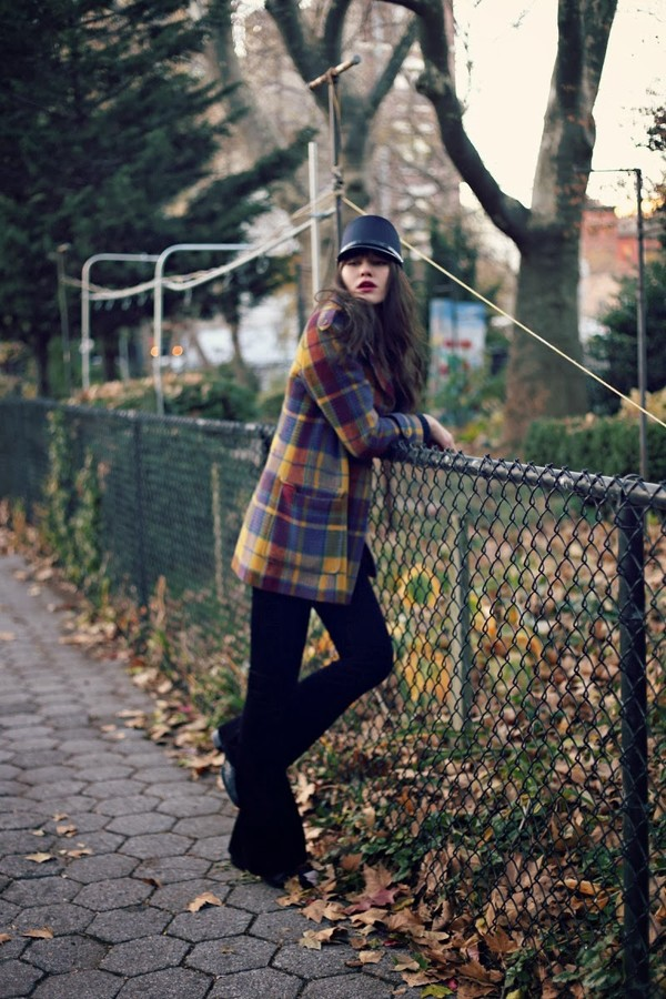 natalie off duty hat coat sweater shoes