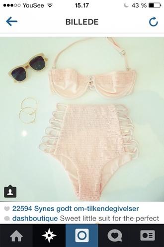 swimwear cream high waisted bikini please!! pink bikini retro