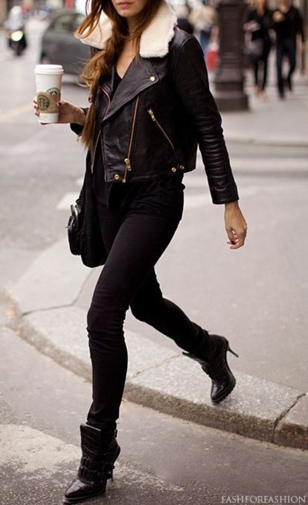 Black leather jacket with white fur collar – Modern fashion jacket ...