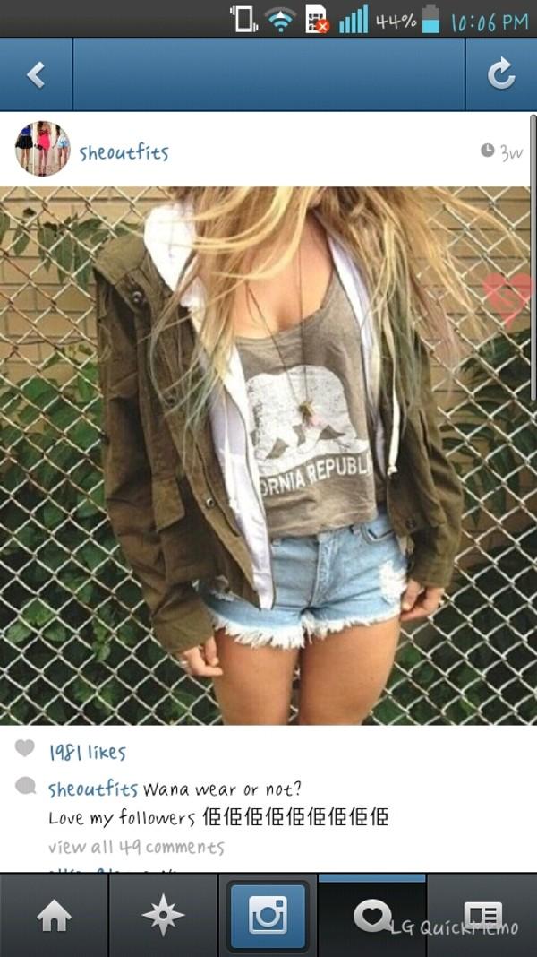 shirt california republic top shorts jacket girly outfits tumblr