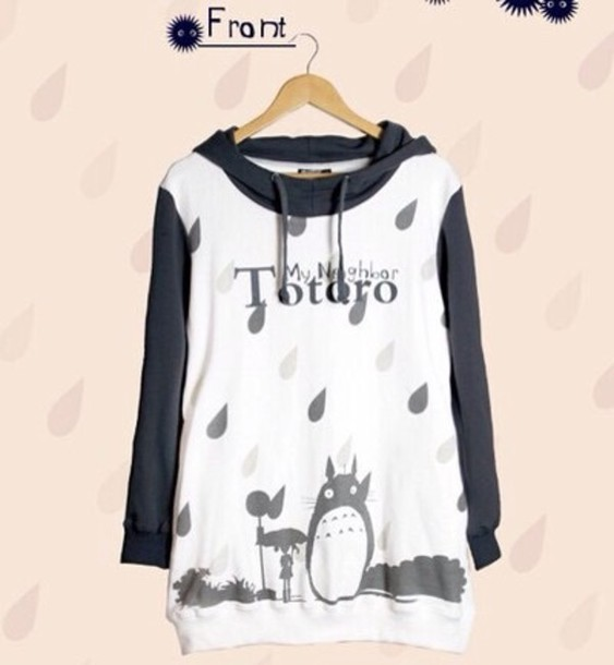 totoro hoodie shirt sweater black and white