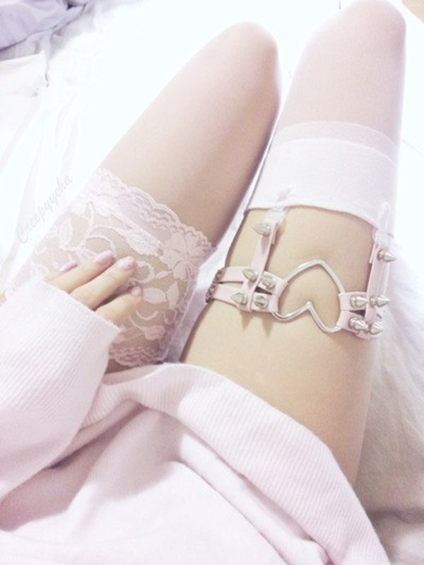 jewels socks pink white lace pretty girly spikes thigh highs knee high socks heart garter belt stockings garter belt