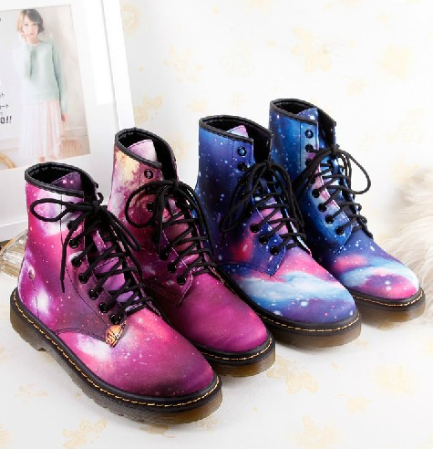 Harajuku Psychedelic Leather Motorcycle Anklet Boots on Luulla