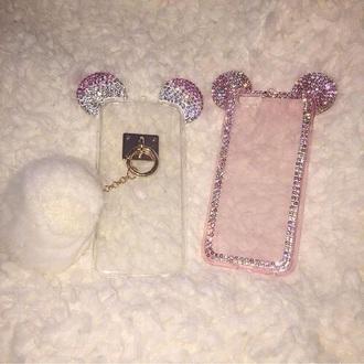 phone cover glitter pink silver cute
