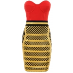 Clothing : Bandage Dresses : 'Amicia' Red Strapless Bodycon dress with Gold Print Skirt