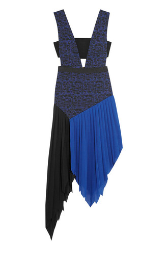 dress blue dress colorblock colorblock dress asymmetrical cut-out dress self portrait