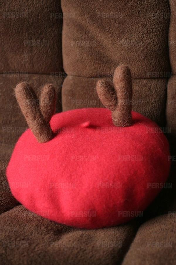 Cute Red Caribou Horn Beret Cap [FHAT0003] - PersunMall.com