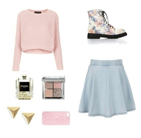 sweater shoes skirt