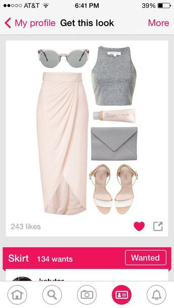 skirt bag shirt shoes sunglasses