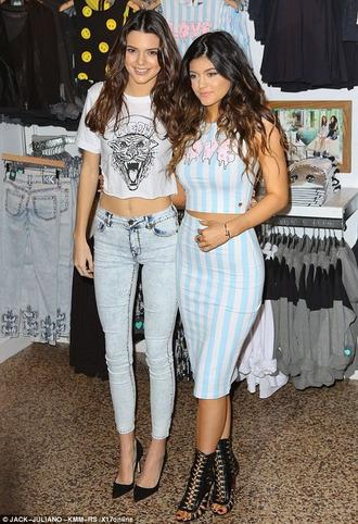 t-shirt shop kylie jenner kendall jenner kardashians skirt crop tops shorts stripes print tiger meow dress shoes jeans