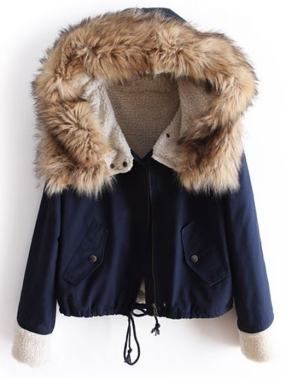 Navy Fur Hooded Long Sleeve Drawstring Coat from yourfashionsandcute on Storenvy