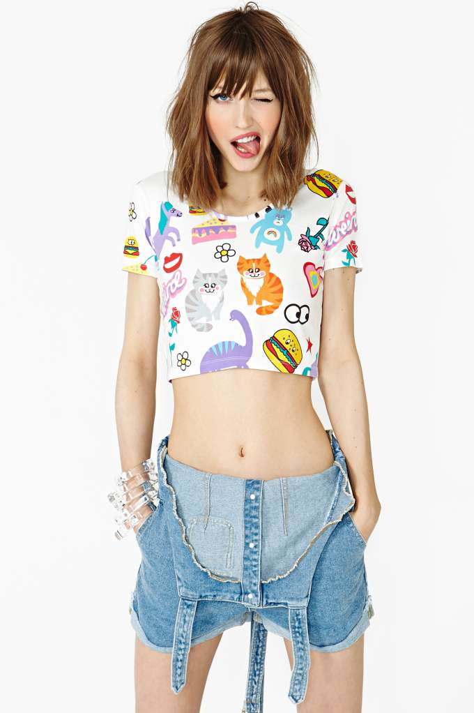 Stickers Crop Tee | Shop Clothes at Nasty Gal