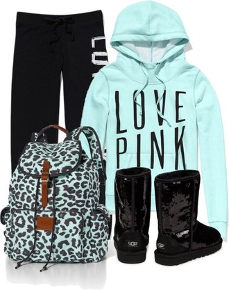 jacket sweatshirt blue black pink vs pink pants white victorias secret love pink clothing sweatpants bag leopard print