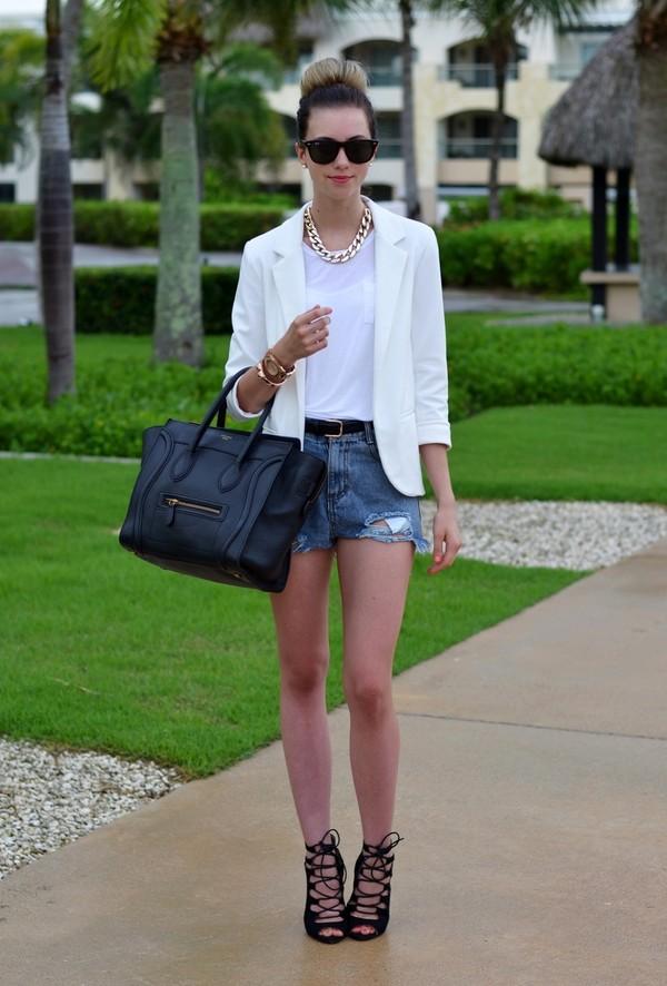 vogue haus t-shirt jacket shorts belt shoes bag jewels sunglasses