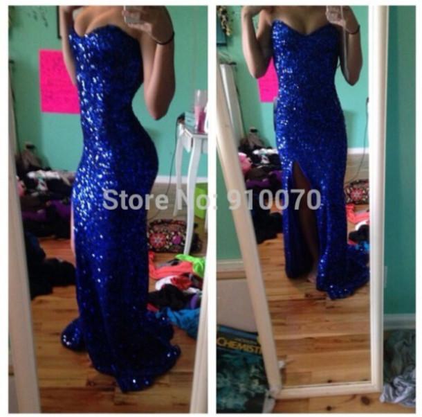 dress royal blue prom gown slit dress sequins prom dress sparking