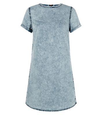Light Blue Short Sleeve Acid Wash Tunic Dress