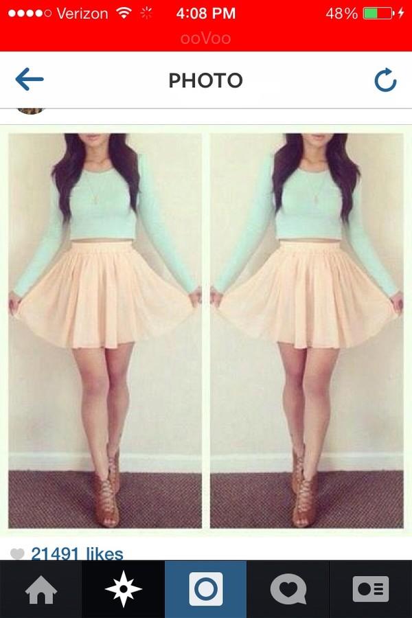 shoes blue top pink skirt t-shirt mint crop top