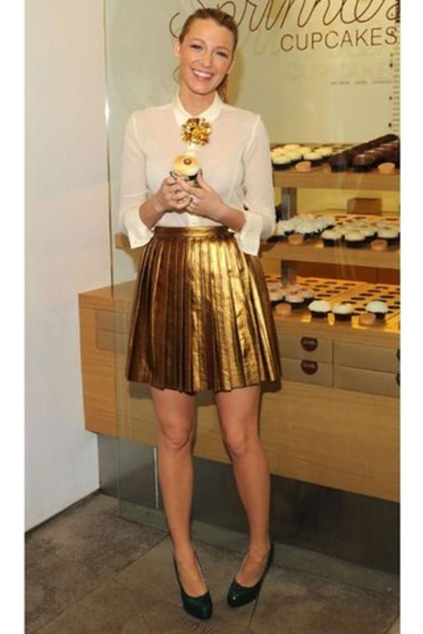 gold skirt metallic skirt blake lively shoes shirt metallic pleated skirt