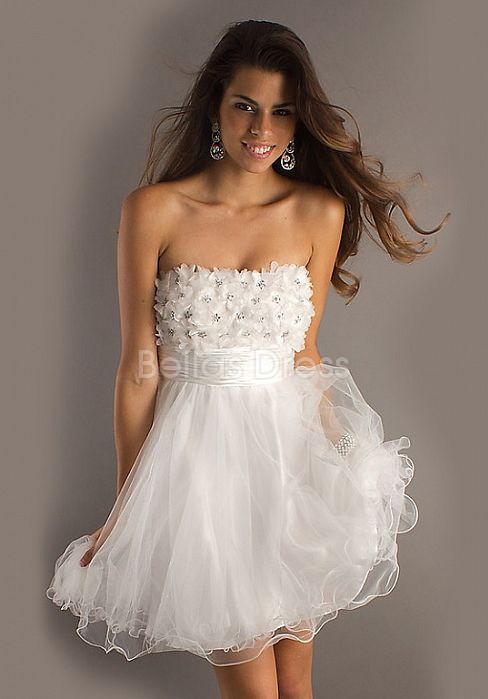 Brilliant Tulle A line Short Length Strapless Prom Gowns With Flowers - 1300102354B - US$110.99 - BellasDress