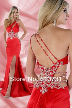 New arrivals colorful long one shoulder cross back sexy red mermaid evening dress vestidos formales 1689-in Evening Dresses from Apparel & Accessories on Aliexpress.com