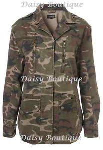 Daisy Bou Topshop Khaki Camo Army Military Jacket Coat Size 4 RRP £48! Festival | eBay