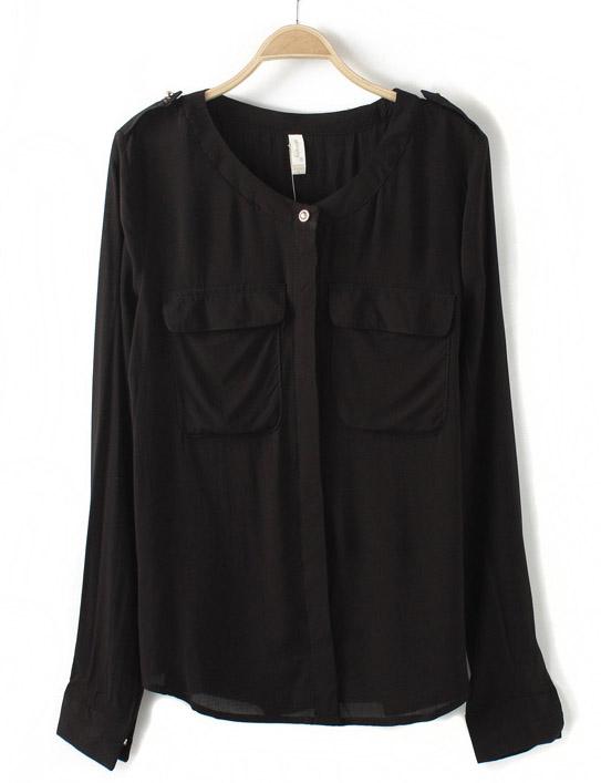 Black Long Sleeve Epaulet Pockets Blouse - Sheinside.com