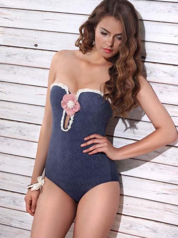 swimwear jolidon 2014 clothes 694121 one piece swimsuit women bathing suit bandeau bikini fashion beach