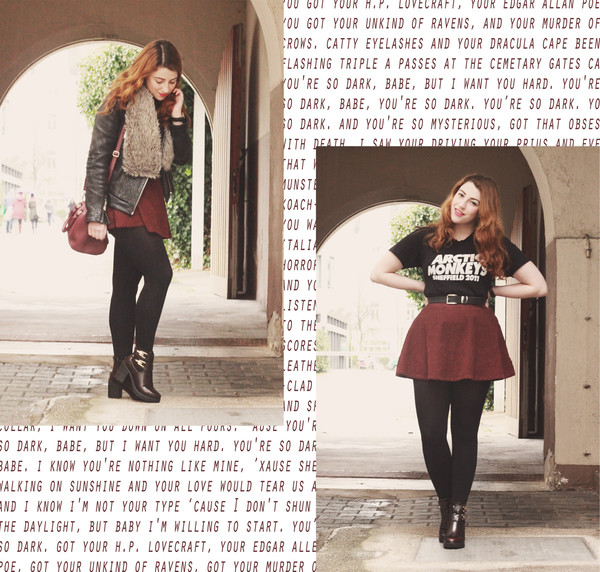 skirt arctic monkeys band t-shirt red skater skirt skater skirt leather jacket fur leather coat hipster city outfits city fashion jacket