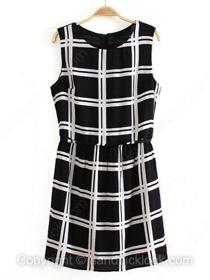 Black and White Round Neck Sleeveless Chiffon Dress - HandpickLook.com