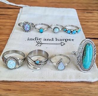 jewels ring jewelry aqua silver fashion gypsy indie navajo