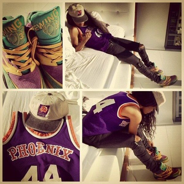 shirt trainners phoenix purple jeans basketball t-shirt clothers clothes shoes celebrity teyana taylor snapback
